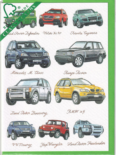 4X4's Four By Four Jeeps Greetings Card - Richard Partis For Clanna Cards