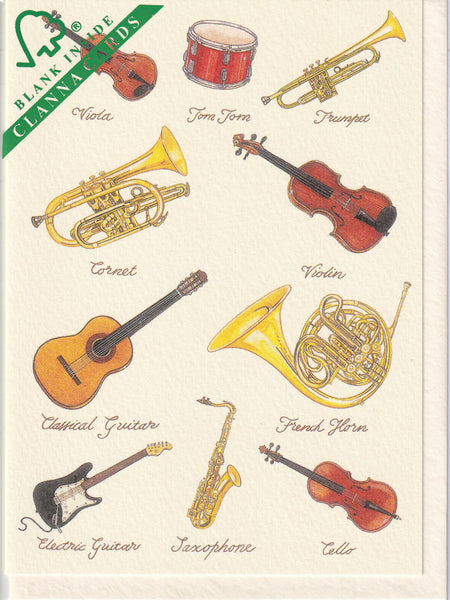 Musical Instruments Greetings Card - Richard Partis For Clanna Cards