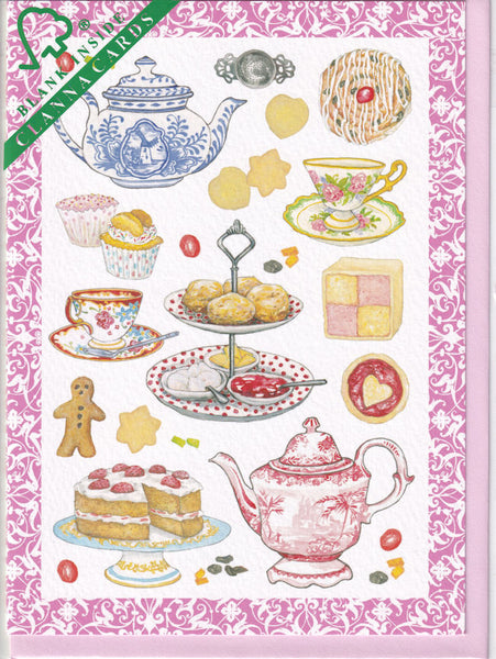 Tea And Cakes Afternoon Tea Greetings Card - Deborah Pope For Clanna Cards