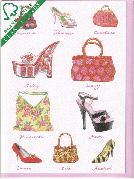 Shoes And Handbags Greetings Card - Richard Partis For Clanna Cards