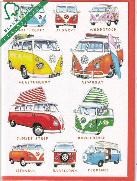 VW Campervans Greetings Card - Richard Partis For Clanna Cards