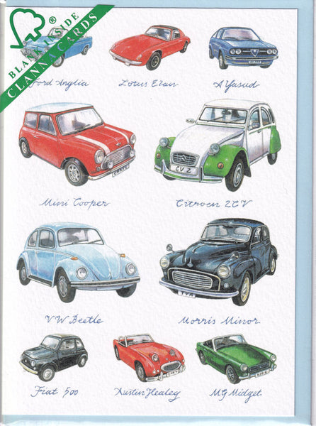 Classic Small Cars Greetings Card - Richard Partis For Clanna Cards