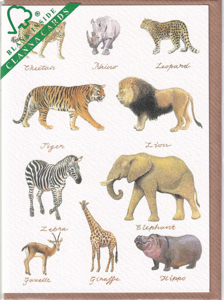 Safari Animals Greetings Card - Richard Partis For Clanna Cards