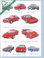 Classic Italian Cars Greetings Card - Richard Partis For Clanna Cards