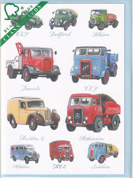 Classic Trucks And Lorries Greetings Card - Richard Partis For Clanna Cards