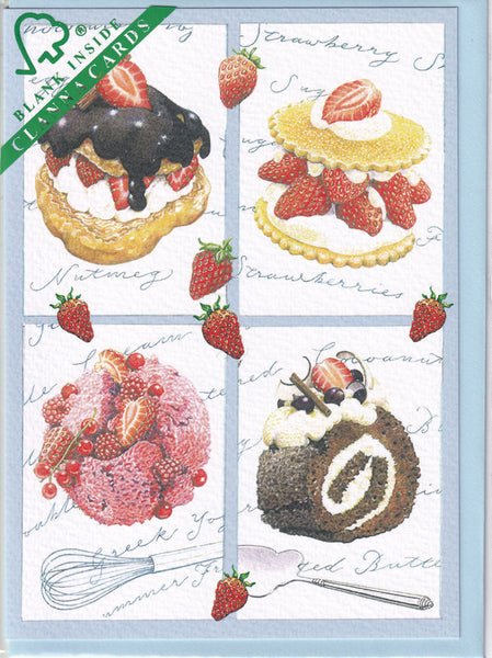 Strawberries And Cream Greetings Card - Richard Partis For Clanna Cards