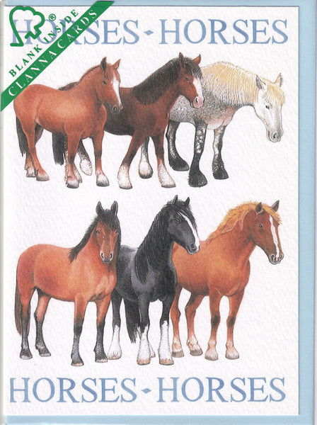 Horses Greetings Card - Richard Partis For Clanna Cards