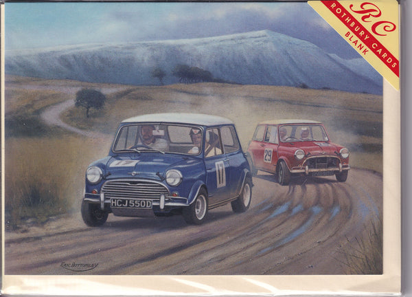 Classic Mini Cars In Competition Greetings Card - Eric Bottomley