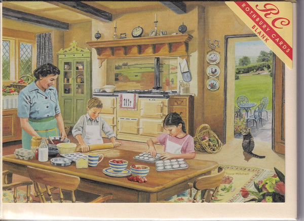 Cottage Kitchen Baking With Grandma Greetings Card - Trevor Mitchell