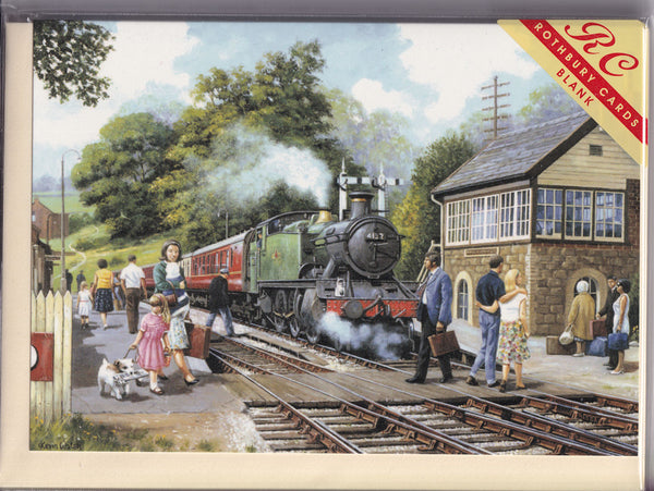 Country Steam Train Stop Greetings Card - Kevin Walsh