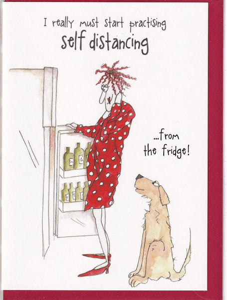 Self Distancing From The Fridge! Camilla & Rose Greetings Card