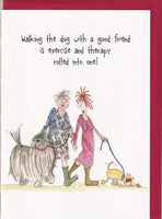Walking The Dog With A Good Friend Camilla & Rose Greetings Card