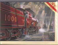 Crimson Rambler Steam Train Greetings Card - Philip Hawkins