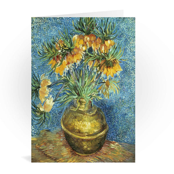 Crown Imperial Fritillaries In A Copper Vase Greetings Card - Vincent van Gogh