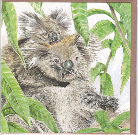 Cute Koala Bears Greetings Card - Sally Anson