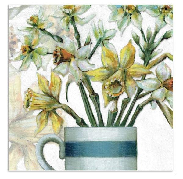 Daffodil Flowers Greetings Card - Caroline Cleave