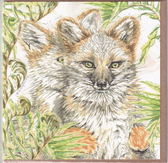 Darwin's Fox Greetings Card - Sally Anson