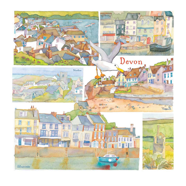 Devon Watercolour Greetings Card - Emma Ball
