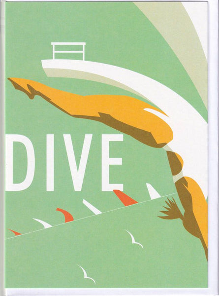 Dive Off A Diving Board Greetings Card - Dave Thompson