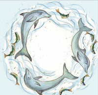 Dolphins Swirl Greetings Card - Caroline Cleave