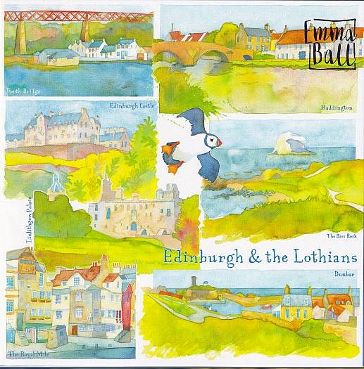 Edinburgh And The Lothians Scotland Watercolour Greetings Card - Emma Ball