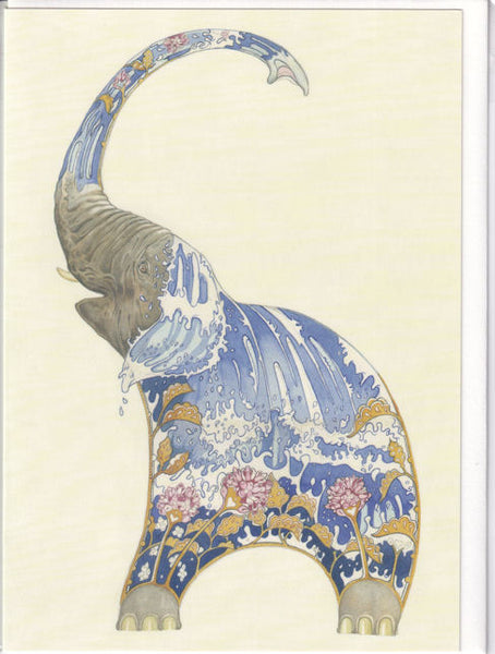 Elephant Squirting Water Greetings Card - Daniel Mackie