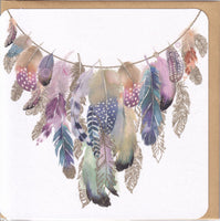 Feather Necklace Glitter Greetings Card - Nigel Quiney