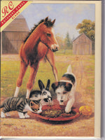 Feeding Time Donkey Cat Rabbit Dog Greetings Card - Kevin Walsh