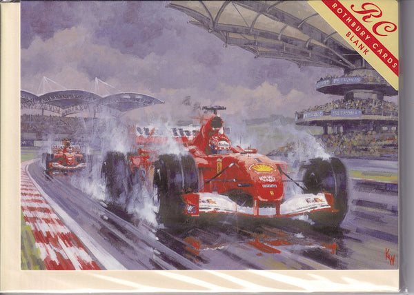 Ferrari Storming To A Win Greetings Card - Keith Woodcock