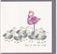 Flamingo Stand Out From The Crowd! Greetings Card - Sarah Boddy