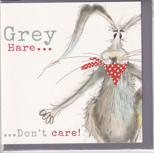 Grey Hare...Don't Care! Greetings Card - Sarah Boddy