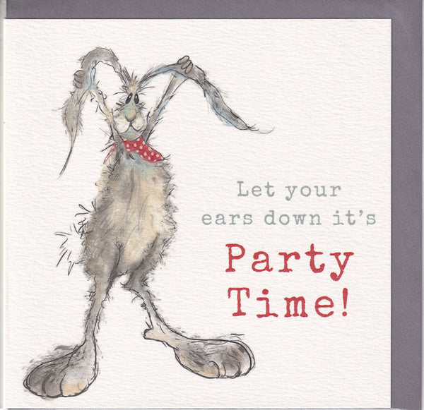 Hare Let Your Ears Down It's Party Time! Greetings Card - Sarah Boddy