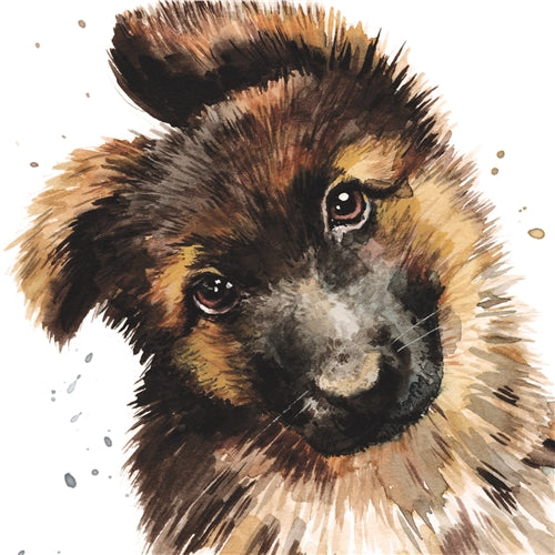 George The German Shepherd Puppy Greetings Card - Louise Nisbet