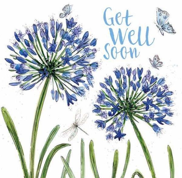 Get Well Soon Agapanthus Greetings Card - Caroline Cleave