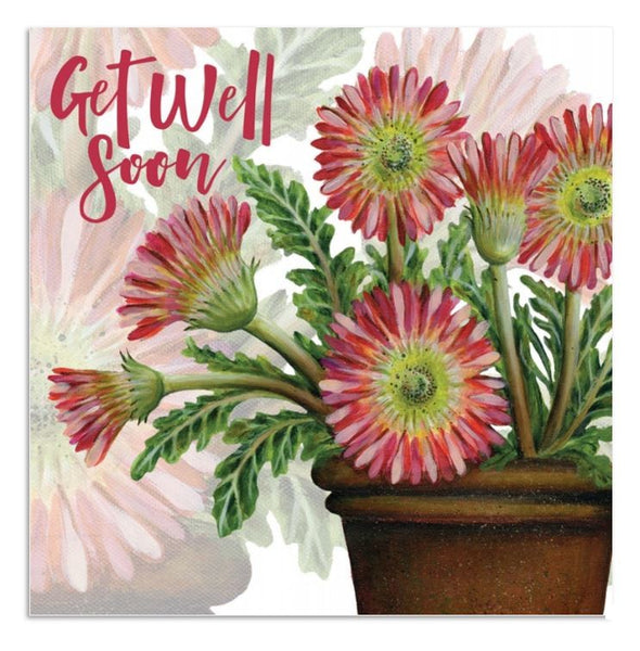 Get Well Soon Gerbera Flowers Greetings Card - Caroline Cleave