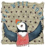 Get Well Soon Woolly Puffin Greetings Card - Emma Ball