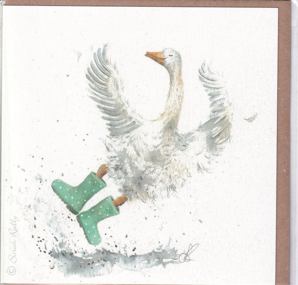 Goose New Wellies Watercolour Greetings Card - Sarah Reilly