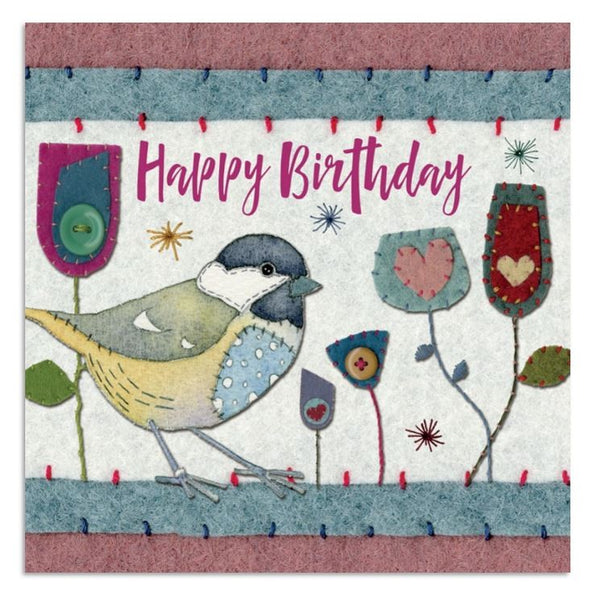 Great Tit Stitched Bird Happy Birthday Card - Emma Ball