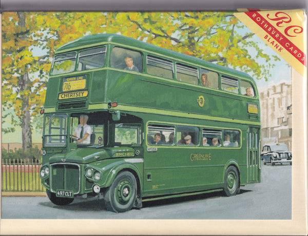 Greenline Bus For Chertsey Greetings Card - Trevor Mitchell