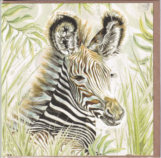 Grevy's Zebra Portrait Greetings Card - Sally Anson