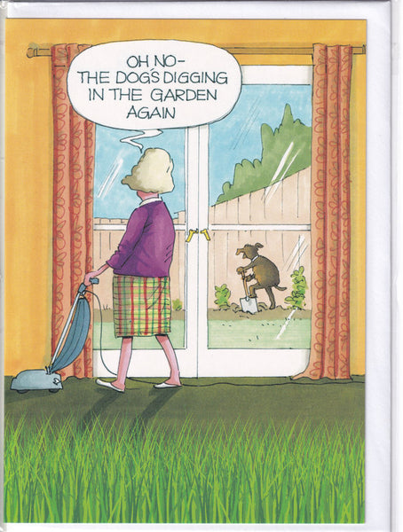 Dog's Digging The Garden Greetings Card - Gardeners Weakly