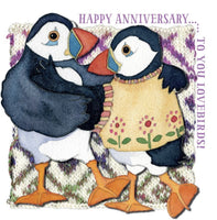 Happy Anniversary...To You Lovebirds! Woolly Puffins Greetings Card - Emma Ball