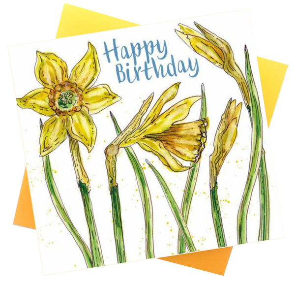 Happy Birthday Daffodil Flowers Greetings Card - Caroline Cleave