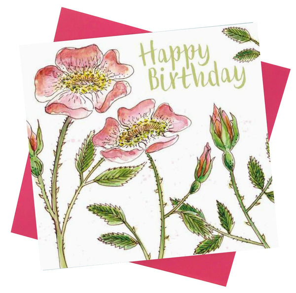 Happy Birthday Dog Rose Flowers Greetings Card - Caroline Cleave