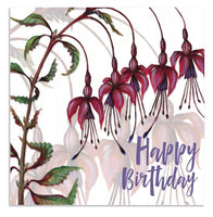 Happy Birthday Fuchsia Flowers Greetings Card - Caroline Cleave