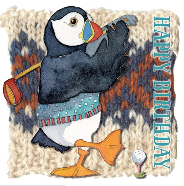 Happy Birthday Woolly Puffin Playing Golf Greetings Card - Emma Ball