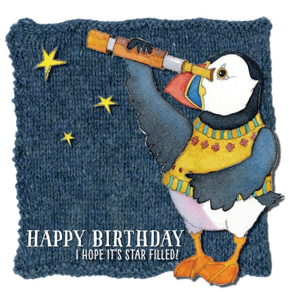 Happy Birthday I Hope It's Star Filled! Woolly Puffin Greetings Card - Emma Ball