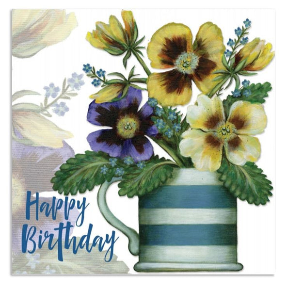 Happy Birthday Pansy Flowers Greetings Card - Caroline Cleave