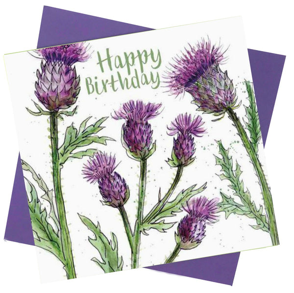 Happy Birthday Thistle Flowers Greetings Card - Caroline Cleave