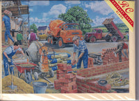 Happy Days At The Building Site Greetings Card - Trevor Mitchell